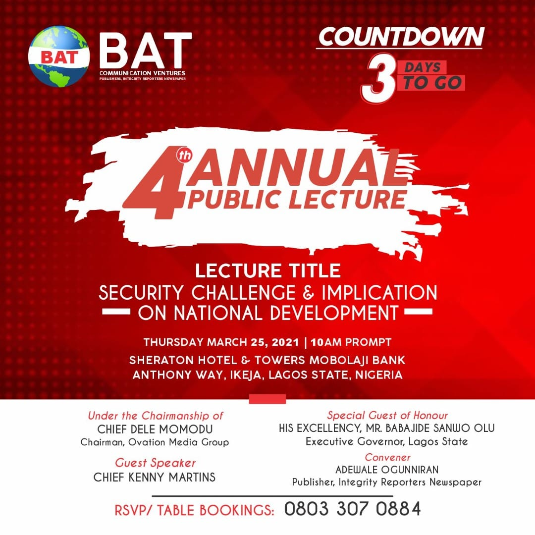 Nigeria's security challenge takes centre stage, as Integrity Reporters holds 4th Annual Public Lecture